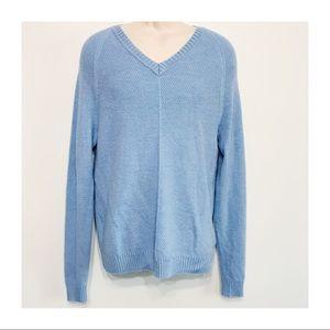 Murano 100% Wool Soft Sky Blue V-Neck Sweater LG